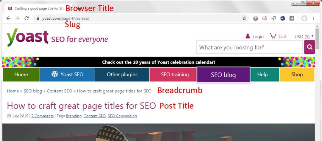 Yoast page title example
